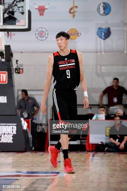 Zhou Qi of the Houston Rockets looks on during the game against the Denver Nuggets during the 2017 Las Vegas Summer League on July 7 2017 at the Cox...