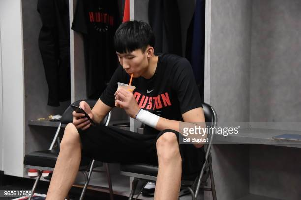 Zhou Qi of the Houston Rockets looks on prior to Game Six of the Western Conference Finals during the 2018 NBA Playoffs against the Golden State...