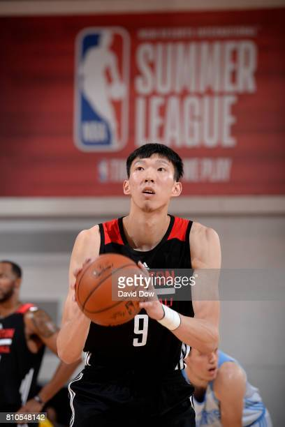 Zhou Qi of the Houston Rockets shoots a free throw during the game against the Denver Nuggets during the 2017 Las Vegas Summer League on July 7 2017...