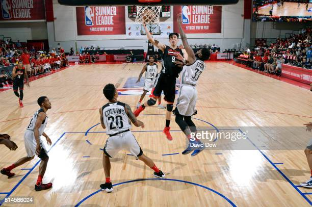 Zhou Qi of the Houston Rockets shoots the ball against the Atlanta Hawks during the 2017 Summer League on July 14 2017 at Cox Pavillion in Las Vegas...