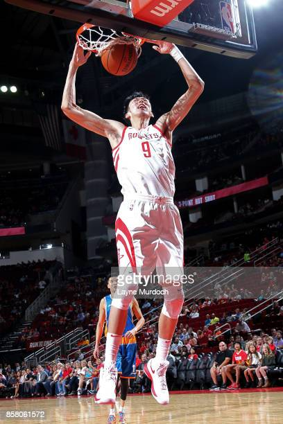 Zhou Qi of the Houston Rockets shoots the ball during the preseason game against the Shanghai Sharks on October 5 2017 at the Toyota Center in...