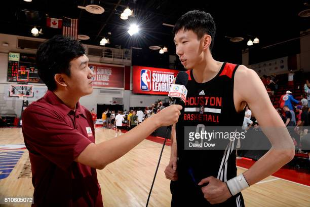 Zhou Qi of the Houston Rockets talks with the media after the game against the Denver Nuggets during the 2017 Las Vegas Summer League on July 7 2017...