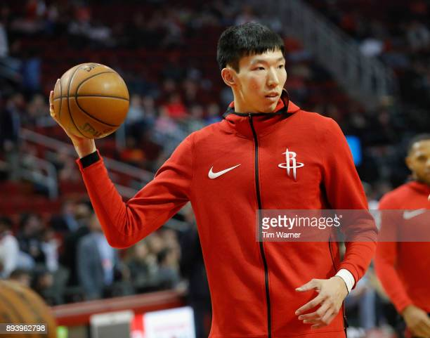 Zhou Qi of the Houston Rockets warms up before the game against the Milwaukee Bucks at Toyota Center on December 16 2017 in Houston Texas NOTE TO...