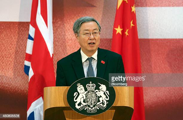 Zhou Xiaochuan governor of the People's Bank of China speaks during the UK China Financial Forum at Lancaster House in London UK on Wednesday June 18...