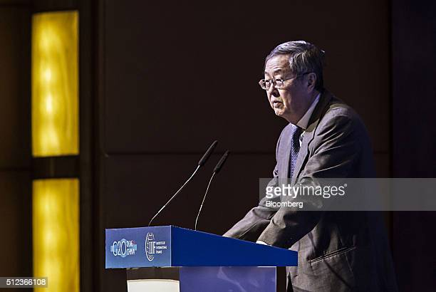 Zhou Xiaochuan governor of the People's Bank of China speaks during the Institute of International Finance G20 Conference in Shanghai China on Friday...