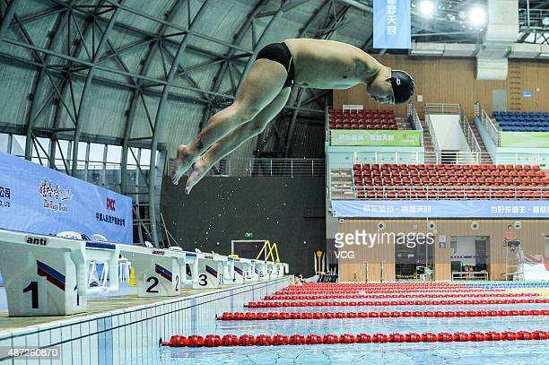 Zhou Xuepeng a disabled athlete who lost his double arms when he happened highvoltage electric in three years old practice swimming at the gymnasium...