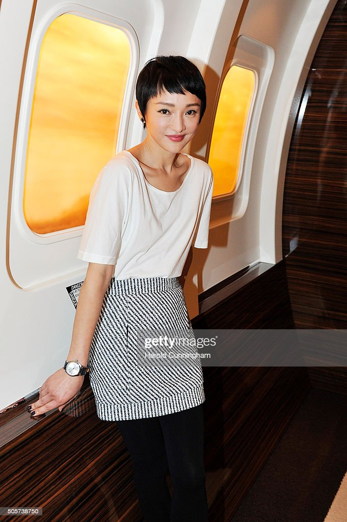 Zhou Xun visits the IWC booth during the launch of the Pilot's Watches Novelties from the Swiss luxury watch manufacturer IWC Schaffhausen at the Salon International de la Haute Horlogerie (SIHH) 2016 on January 19, 2016 in Geneva, Switzerland.