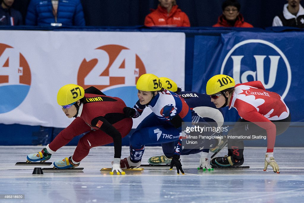 Zhou Yang of China (left) Ekaterina Strelkova of Russia (centre) and Audrey Phaneuf of Canada (right) battle for position on Day 2 of the ISU World Cup Short Track Speed Skating competition at Maurice-Richard Arena on November 1, 2015 in Montreal, Quebec, Canada.