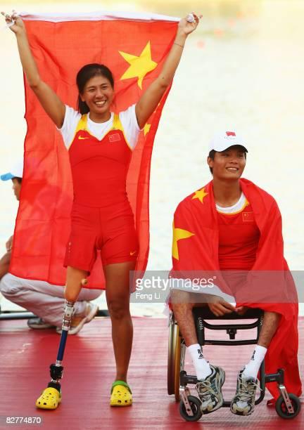 Zhou Yangjing and Shan Zilong of China win the Gold in the Rowing Mixed Double Sculls TA Final at Shunyi Olympic RowingCanoeing Park during day five...