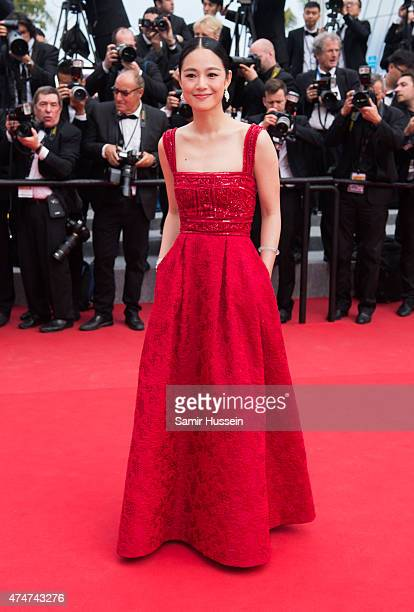 Zhou Yun attends the closing ceremony and 'Le Glace Et Le Ciel' Premiere during the 68th annual Cannes Film Festival on May 24 2015 in Cannes France