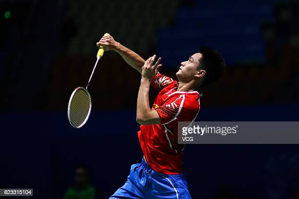 Zhou Zeqi of China competes against Jacob Maliekal of South Africa in the men's singles qualifying round on day one of Thaihot China Open 2016 at...