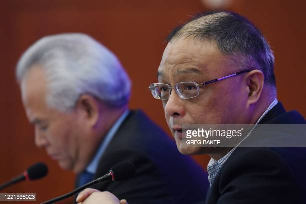Zhu Feng , executive director of the Nanjing University's China Center for Collaborative Studies of the South China Sea, speaks during a press...