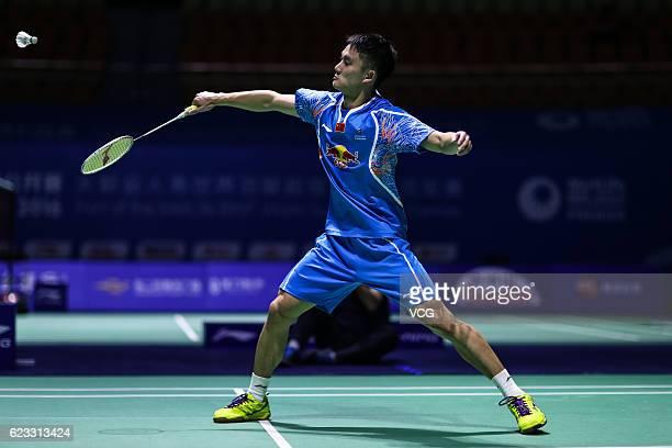 Zhu Siyuan of China competes against Khosit Phetpradab of Thailand in the men's singles qualifying round of Thaih China Open 2016 at Fuzhou Strait...