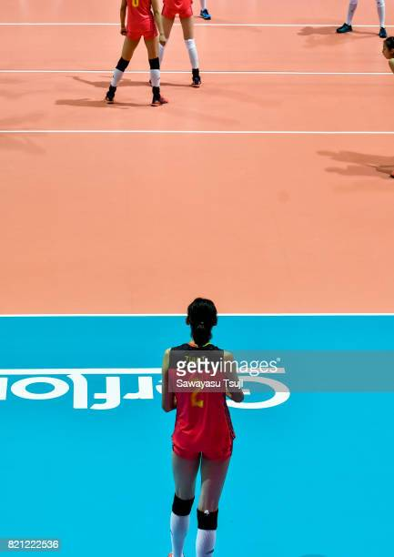 Zhu Ting of China gets ready to serve during the FIVB Volleyball World Grand Prix match between China and Serbia on July 23 2017 in Hong Kong Hong...