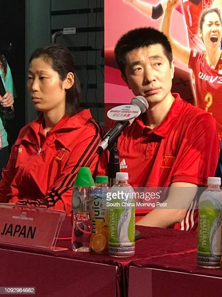 Zhu Ting of China the highest paid player in the world and her coach An Jiajie meet the media during FIVB Volleyball World Grand Prix in Hong Kong...