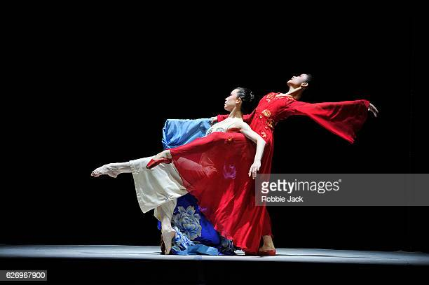 Zhu Yan as Du Linlang and Zhang Jian as Flower Goddess Linlang in the National Ballet of China's production The Peony Pavilion at Sadler's Wells...