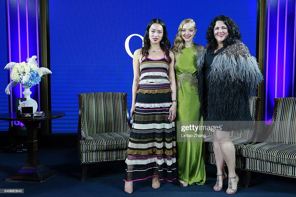 Zhu yi of China, actress Amanda Seyfried and artist Ashley Longshore attend the promotional event for Shiseido's Cle de Peau Beaute at Fairmont Peace Hotel on June 16, 2016 in Shanghai, China.