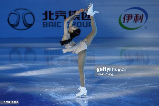 Zhu Yi of China performs in the gala exhibition during day 4 of the 2021 Asia Open Figure Skating test event for the Beijing 2022 Winter Olympics at...
