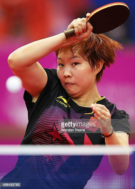 Zhu Yuling of China plays a forehand in her Round of 32 Elimination Match against Lee Rou You of Malaysia during day thirteen of the 2014 Asian Games...
