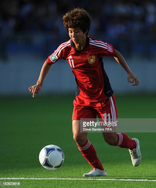 Zhu Zhang of China PR in action during the FIFA U17 Women's World Cup 2012 group D match between Uruguay and China PR at the Dalga Arena on September...