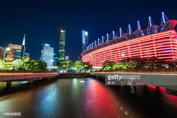 zhujiang new city, guangzhou, guangdong province, china. - tianhe stadion stock-fotos und bilder