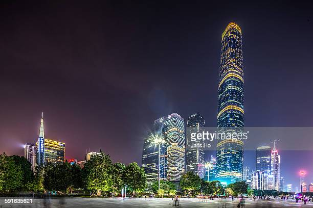 zhujiang new town area, guangzhou,city skyline - two international finance center stock pictures, royalty-free photos & images