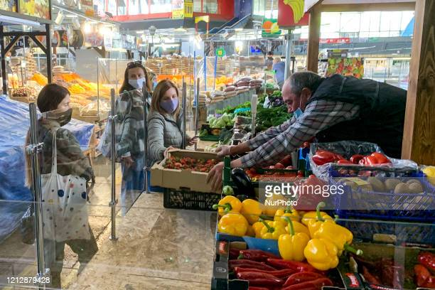 Zhytniy food market resumed operations after the ban, amid the coronavirus disease COVID-19 outbreak in Kyiv, Ukraine on May 13, 2020