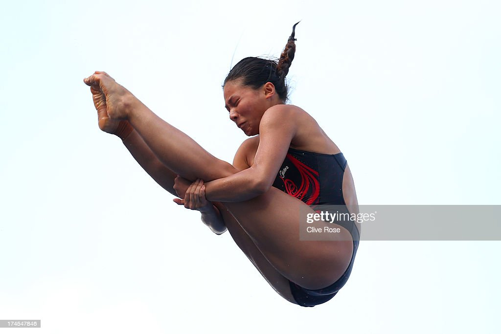Zi He of China competes in the Women's 3m Springboard Diving Semifinal round on day eight of the 15th FINA World Championships at Piscina Municipal de Montjuic on July 27, 2013 in Barcelona, Spain.