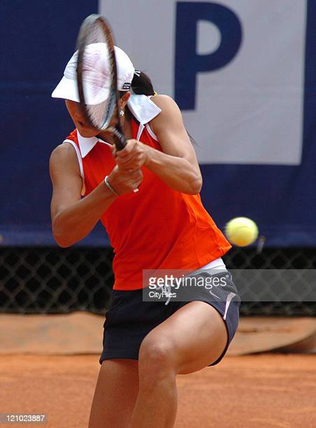 Zi Yan in action against Gisela Dulk during the first round of the 2006 Estoril Open at the Estadio Nacional in Estoril Portugal on May 2 2006