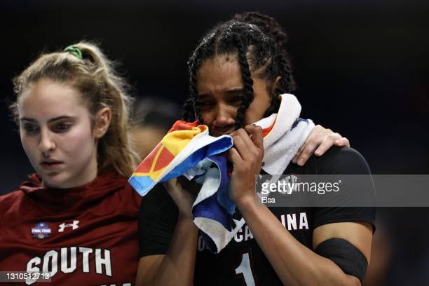 Zia Cooke of the South Carolina Gamecocks reacts after losing to the Stanford Cardinal in the Final Four semifinal game of the 2021 NCAA Women's...