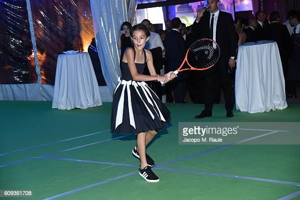 Zia Uehling attends the Milano Gala Dinner benefitting the Novak Djokovic Foundation presented by Giorgio Armani at Castello Sforzesco on September...
