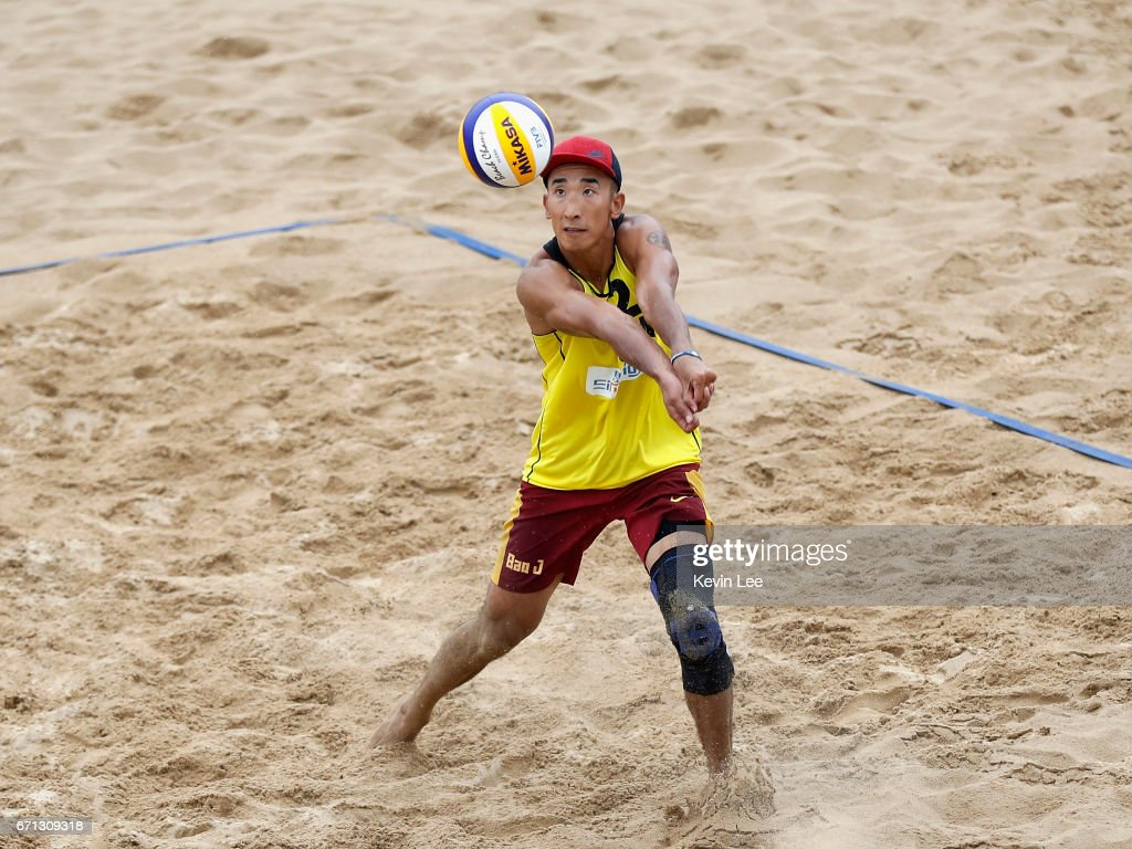 Zian Bao of China in action at the FIVB Beach Volleyball World Tour Xiamen Open 2017 on April 21, 2017 in Xiamen, China.