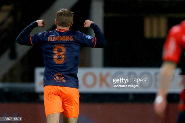 Zian Flemming of Fortuna Sittard celebrates 0-1 during the Dutch KNVB Beker match between NEC Nijmegen v Fortuna Sittard at the Goffert Stadium on...
