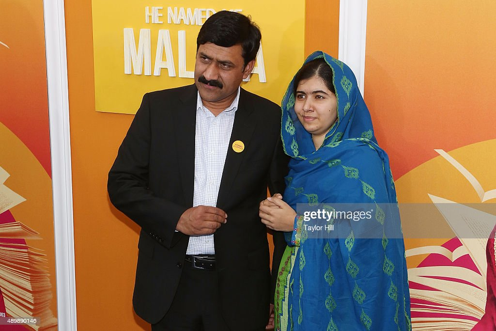 Ziauddin Yousafzai and Malala Yousafzai attend the premiere of 'He Named Me Malala' at Ziegfeld Theater on September 24, 2015 in New York City.