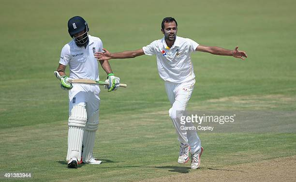 ZiaulHaq of Pakistan A celebrates dismissing Moeen Ali of England during day one of the tour match between Pakistan A and England at Sharjah Cricket...