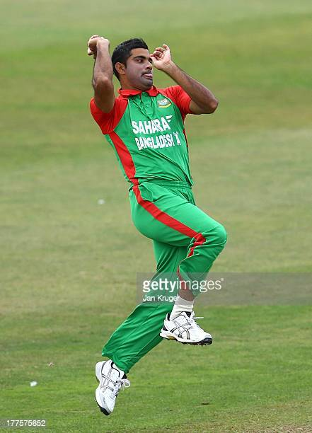 Ziaur Rahman of Bangladesh A bowls during a ODI match between England Lions and Bangladesh A at The County Ground on August 24 2013 in Taunton England