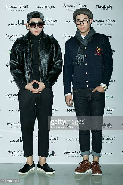 Zico and PO of South Korean boy band Block B pose for photographs at the Beyond Closet show as part of Seoul Fashion Week S/S 2015 at DDP on October...