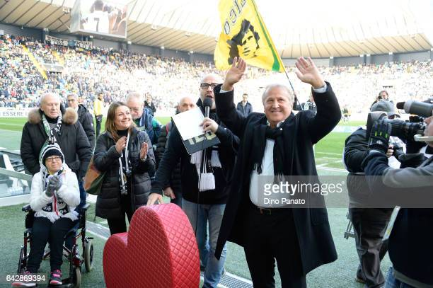 Zico greets fans prior to the Serie A match between Udinese Calcio and US Sassuolo at Stadio Friuli on February 19 2017 in Udine Italy