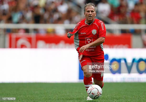 Zico in action during the Jogo das Estrelas Charity Soccer Match between CR Flamengo Stars and Friends of former Brazilian player Zico at Engenhao...