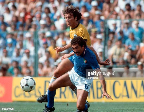 Zico of Brazil and Claudio Gentile of Italy in action during the World Cup match between Italy and Brazil on July 5 1982 in Barcelona Spain