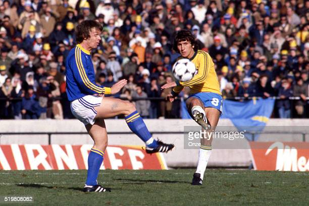 Zico of Brazil during the match between Brazil and Sweden played at Mar Del Plata Argentina on June 3rd 1978