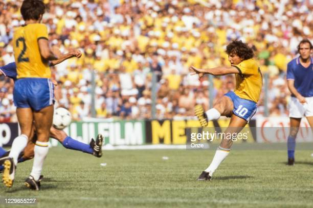 Zico of Brazil during the second stage of the 1982 FIFA World Cup match between Italy and Brazil, at Sarria Stadium, Barcelona, Spain on 5 July 1982