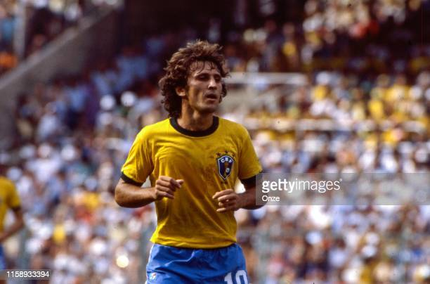 Zico of Brazil during the World Cup match between Argentina and Brazil in Estadi de Saria at Barcelona on the 02 july 1982.