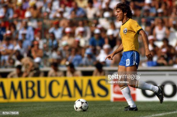 Zico of Brazil during the World Cup match between Brazil and Scotland at Manuel Ruiz de Lopera Stadium Sevilla Spain on 18th June 1982