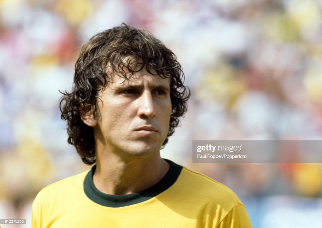Zico of Brazil prior to the FIFA World Cup match between Argentina and Brazil at the Estadio Sarria in Barcelona, 2nd July 1982. Brazil won 3-1.