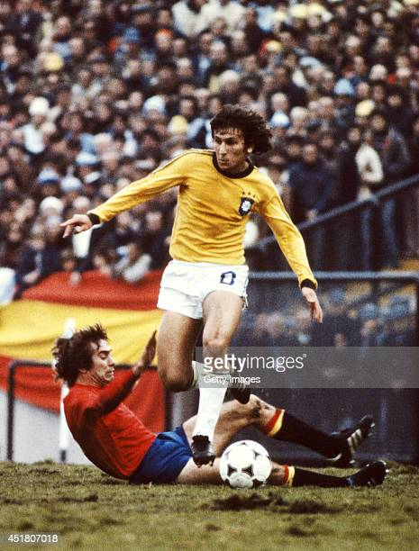 Zico of Brazil rides a challenge during the 1978 FIFA World Cup group match between Brazil and Spain which ended goalless in Mar Del Plata on June 7...