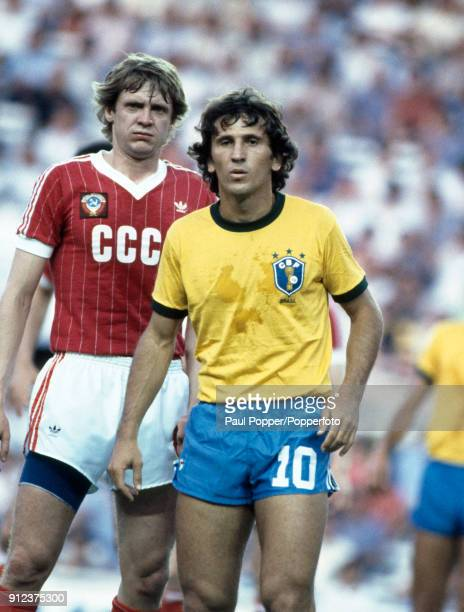 Zico of Brazil with Vladimir Bezsonov of USSR during the FIFA World Cup match between Brazil and the Soviet Union at the Ramon Sanchez Pizjuan in...