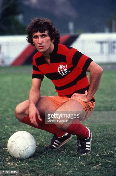 Zico poses during a photo shoot with the Flamengo shirt on December in Rio de Janeiro Brazil