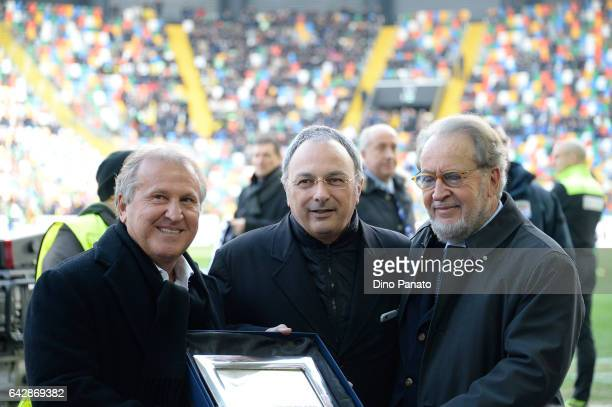 Zico poses with Franco Soldati, Udinese's President and Gianpaolo Pozzo prior to the Serie A match between Udinese Calcio and US Sassuolo at Stadio...