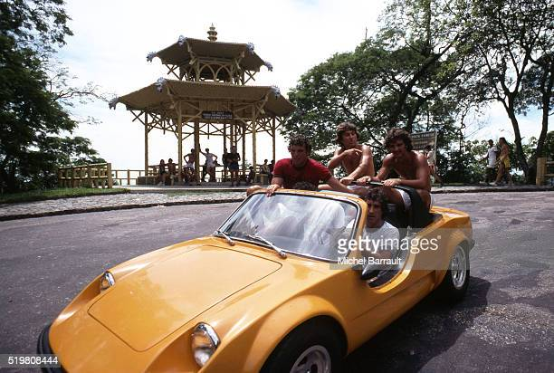 Zico takes a ride with Flamengo team mates on 6th December in Rio de Janeiro Brazil